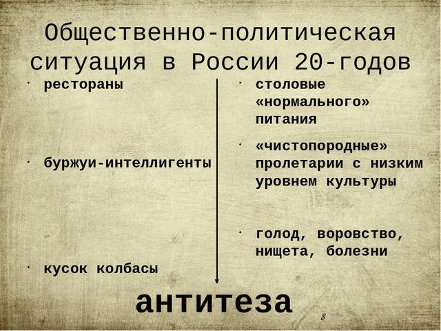 Общественно-политическая ситуация в России 20-годов рестораны буржуи-интелли...