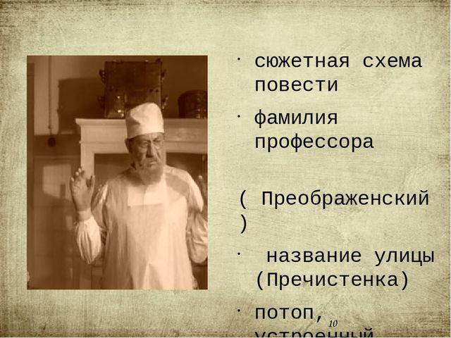 сюжетная схема повести фамилия профессора ( Преображенский) название улицы (...