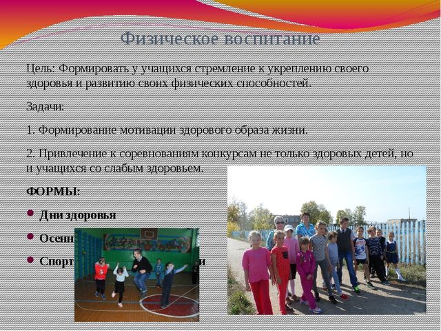 Физическое воспитание Цель: Формировать у учащихся стремление к укреплению св...