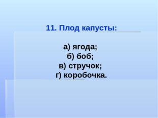 11. Плод капусты: а) ягода; б) боб; в) стручок; г) коробочка.