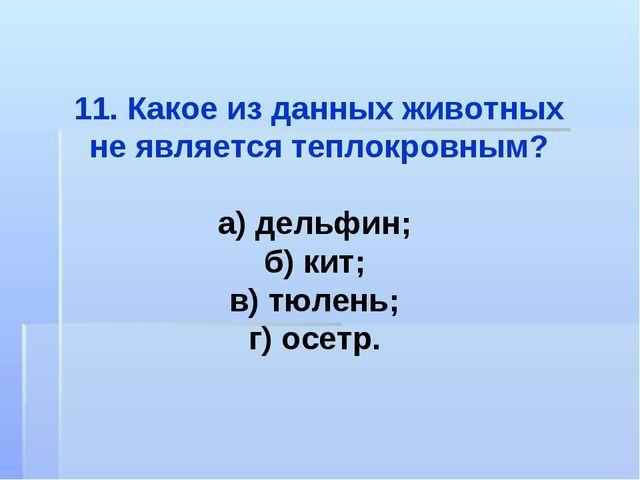 11. Какое из данных животных не является теплокровным? а) дельфин; б) кит; в)...