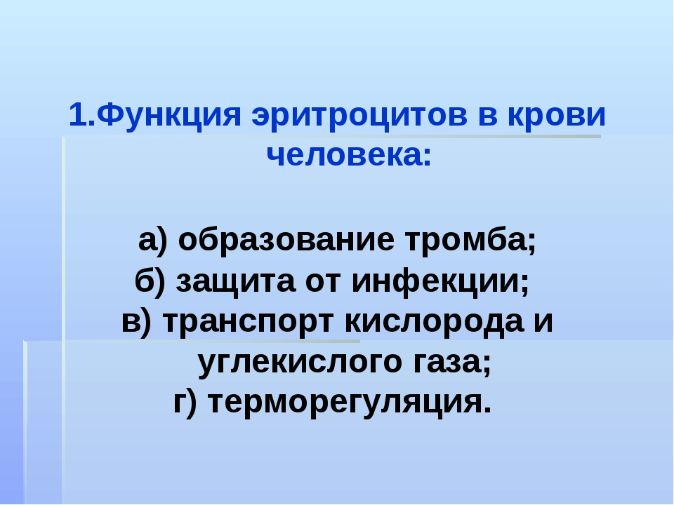 Функция эритроцитов в крови человека: а) образование тромба; б) защита от инф...