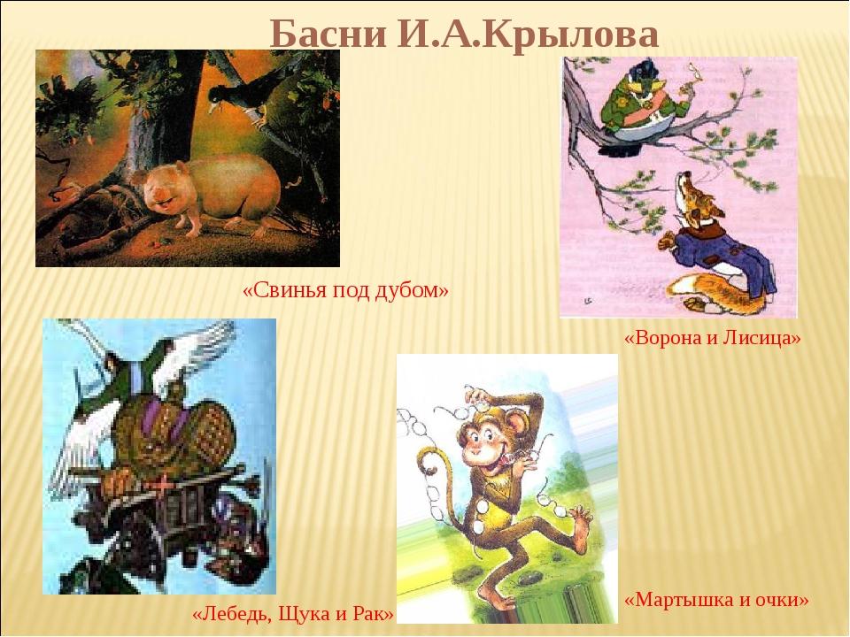 Басни И.А.Крылова «Свинья под дубом» «Ворона и Лисица» «Лебедь, Щука и Рак» «...