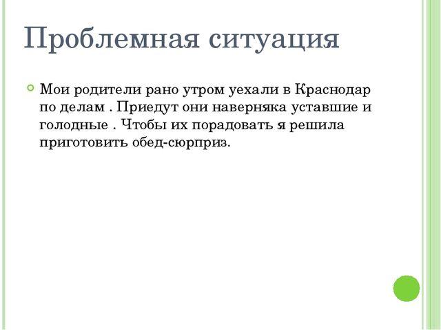 Проблемная ситуация Мои родители рано утром уехали в Краснодар по делам . При...