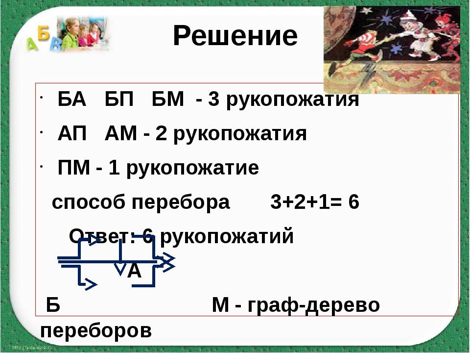 Решение БА БП БМ - 3 рукопожатия АП АМ - 2 рукопожатия ПМ - 1 рукопожатие спо...