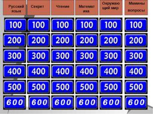 Русский язык Секрет Чтение Математика Окружающий мир Мамины вопросы