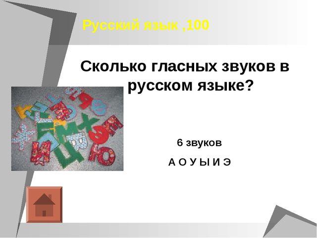Русский язык ,100 Сколько гласных звуков в русском языке? 6 звуков А О У Ы И Э
