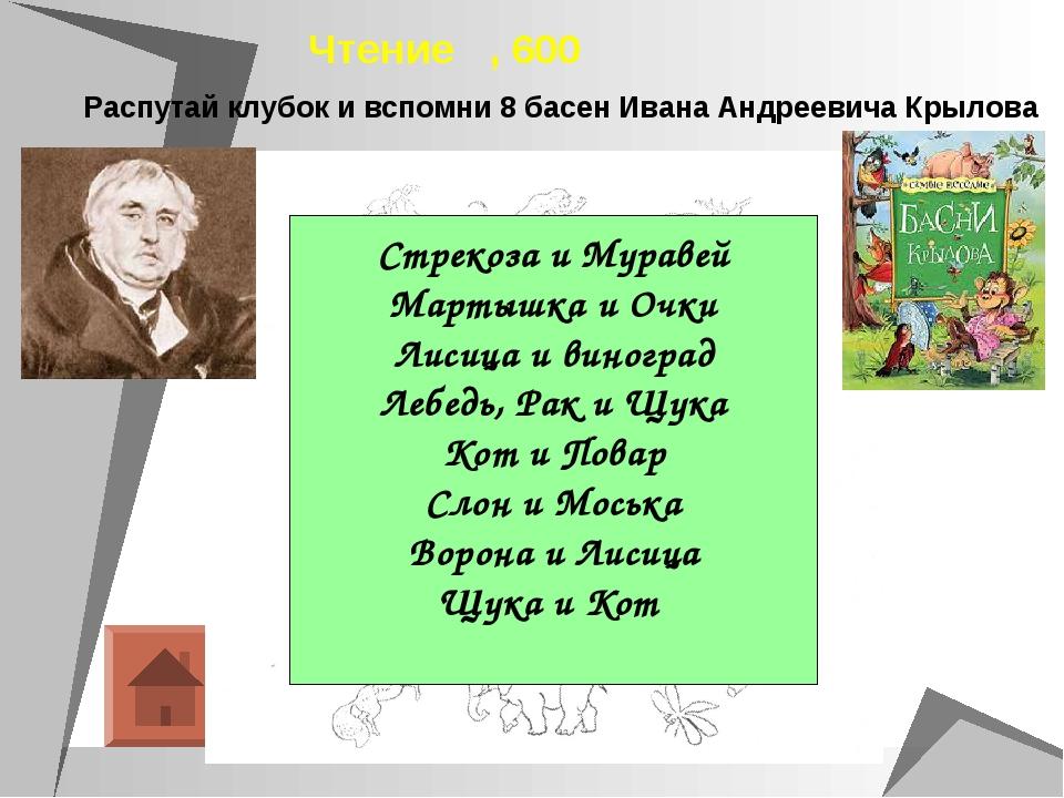 Чтение , 600 Стрекоза и Муравей Мартышка и Очки Лисица и виноград Лебедь, Рак...