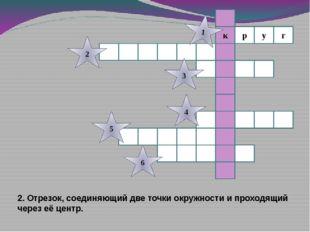 г к р у 1 2 3 4 5 6 2. Отрезок, соединяющий две точки окружности и проходящий
