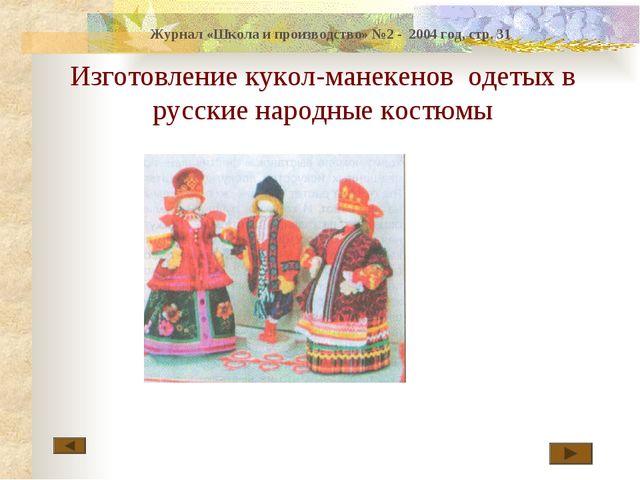 Изготовление кукол-манекенов одетых в русские народные костюмы Журнал «Школа...