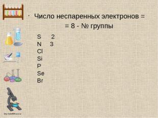 Число неспаренных электронов = = 8 - № группы S 2 N 3 Cl Si P Se Br http://li