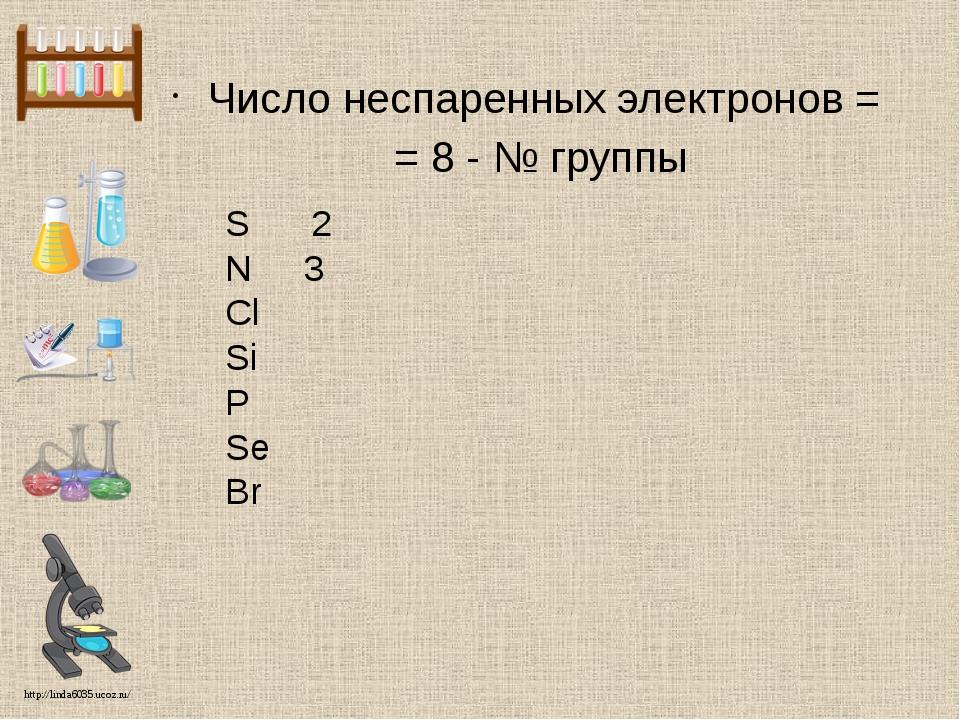 Число неспаренных электронов = = 8 - № группы S 2 N 3 Cl Si P Se Br http://li...