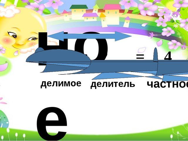 частное 8 : 2 = 4 делимое делитель частное