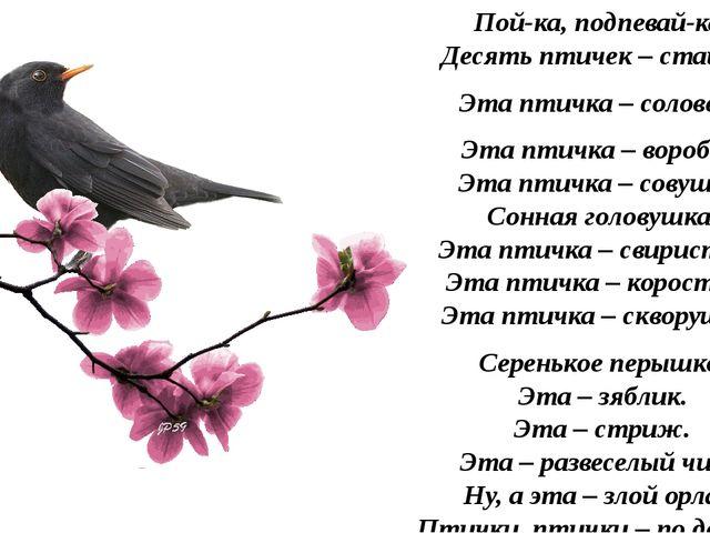 Пой-ка, подпевай-ка: Десять птичек – стайка. Эта птичка – соловей, Эта птичка...