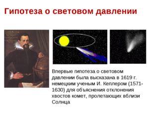 (рис. 6.12). Гипотеза о световом давлении Впервые гипотеза о световом давлени