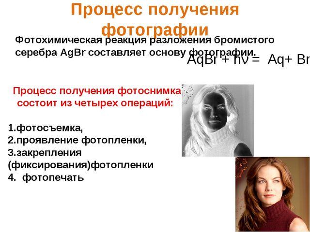 Процесс получения фотографии Фотохимическая реакция разложения бромистого сер...