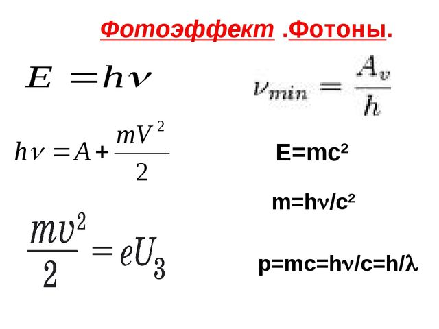 Фотоэффект .Фотоны. E=mc2 m=h/c2 p=mc=h/c=h/