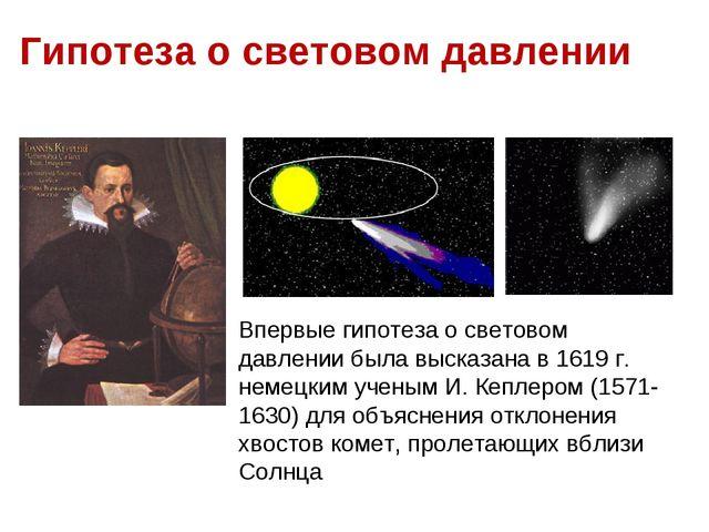 (рис. 6.12). Гипотеза о световом давлении Впервые гипотеза о световом давлени...