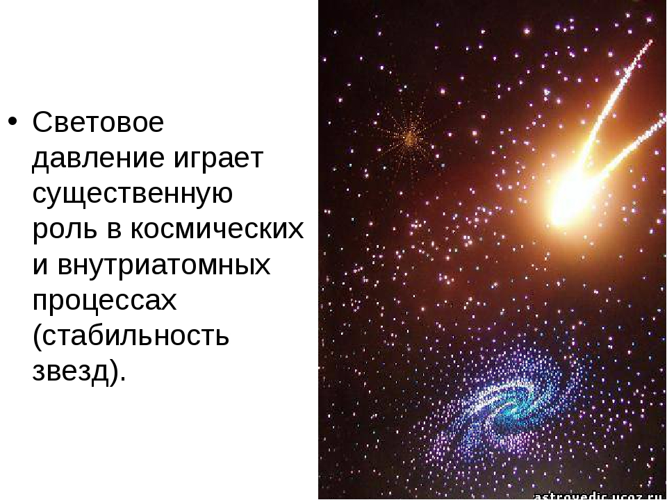 Световое давление играет существенную роль в космических и внутриатомных проц...