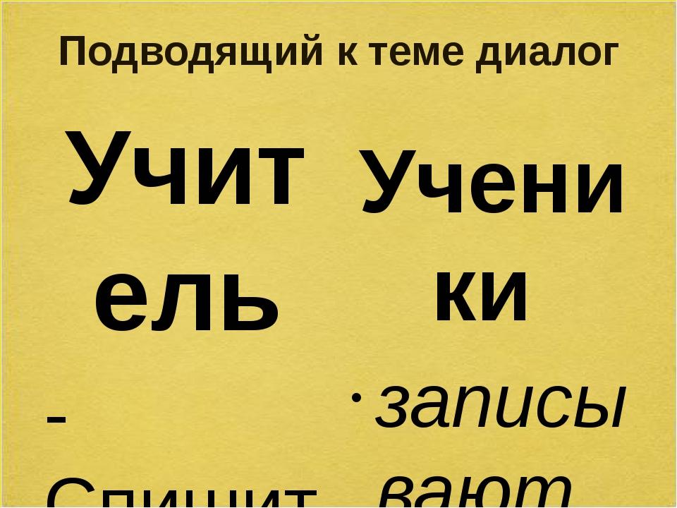 Подводящий к теме диалог Учитель -Спишите из упражнения слова «забег, поход,...