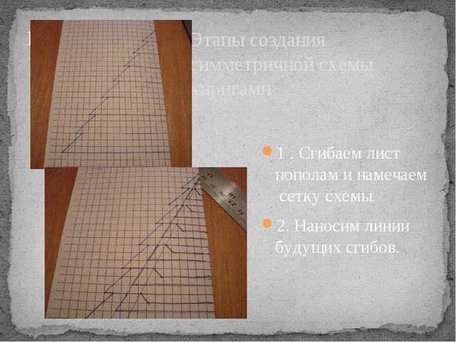 Этапы создания симметричной схемы киригами 1 . Сгибаем лист пополам и намечае...