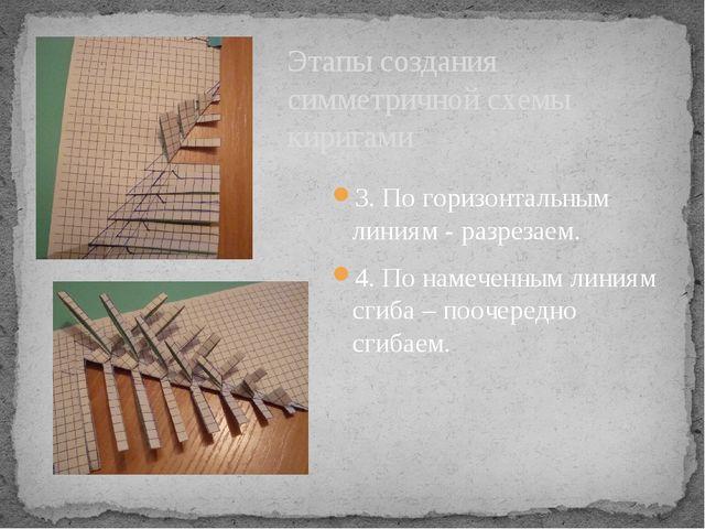 3. По горизонтальным линиям - разрезаем. 4. По намеченным линиям сгиба – пооч...