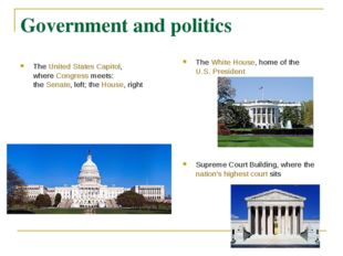 Government and politics TheUnited States Capitol, whereCongressmeets: the
