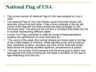 National Flag of USA The current version of National Flag of USA was adopted
