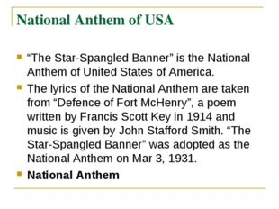 """National Anthem of USA """"The Star-Spangled Banner"""" is the National Anthem of U"""