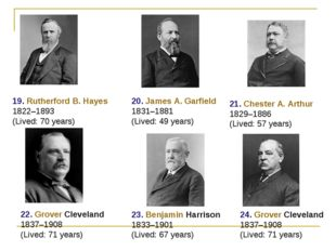 19. Rutherford B. Hayes 1822–1893 (Lived: 70 years) 20. James A. Garfield 183