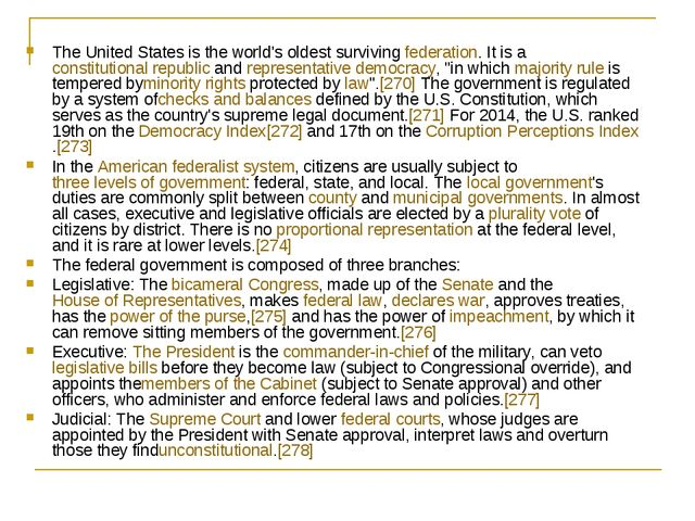 The United States is the world's oldest survivingfederation. It is aconstit...