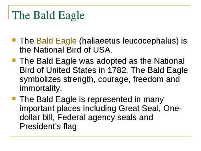 The Bald Eagle TheBald Eagle(haliaeetus leucocephalus) is the National Bird...