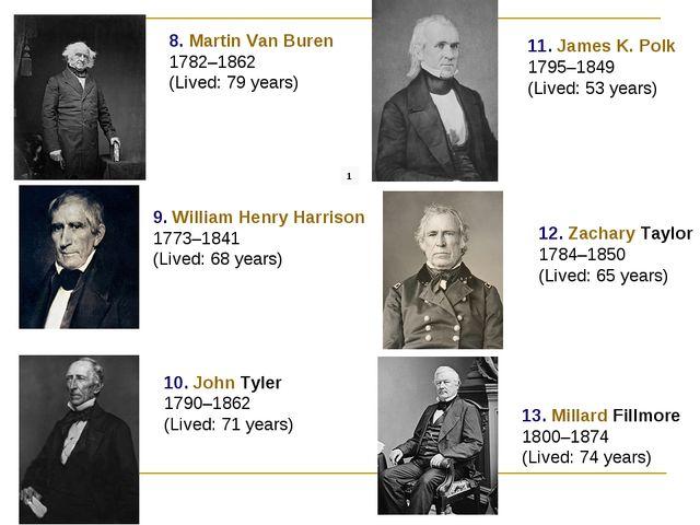 8. Martin Van Buren 1782–1862 (Lived: 79 years) 9. William Henry Harrison 177...