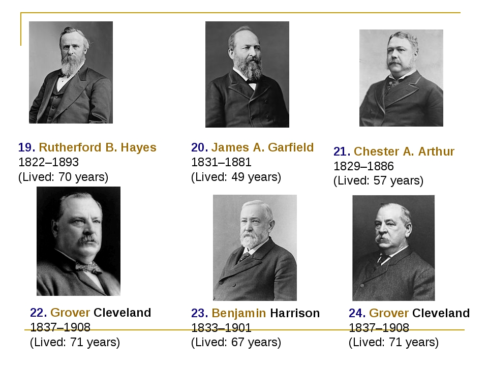 19. Rutherford B. Hayes 1822–1893 (Lived: 70 years) 20. James A. Garfield 183...