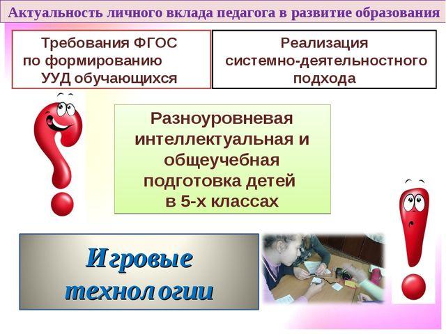 Актуальность личного вклада педагога в развитие образования Требования ФГОС...