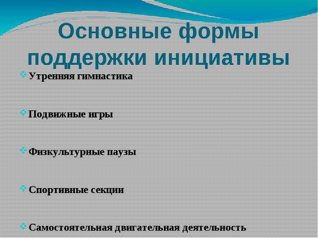 Основные формы поддержки инициативы Утренняя гимнастика Подвижные игры Физкул...