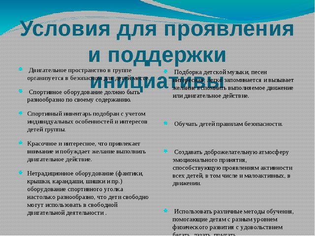 Условия для проявления и поддержки инициативы Двигательное пространство в гру...