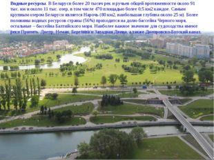 Водные ресурсы. В Беларуси более 20 тысяч рек и ручьев общей протяженности ок