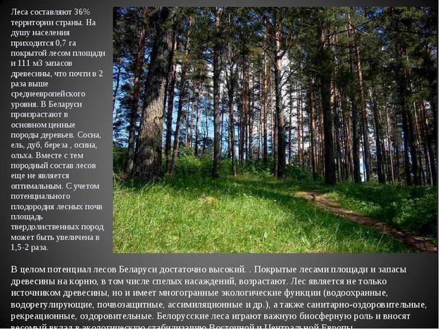 Леса составляют 36% территории страны. На душу населения приходится 0,7 га п...