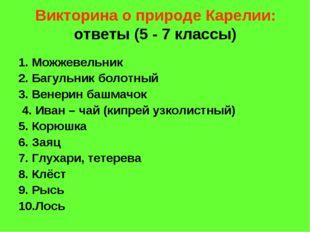 Викторина о природе Карелии: ответы (5 - 7 классы) 1. Можжевельник 2. Багульн
