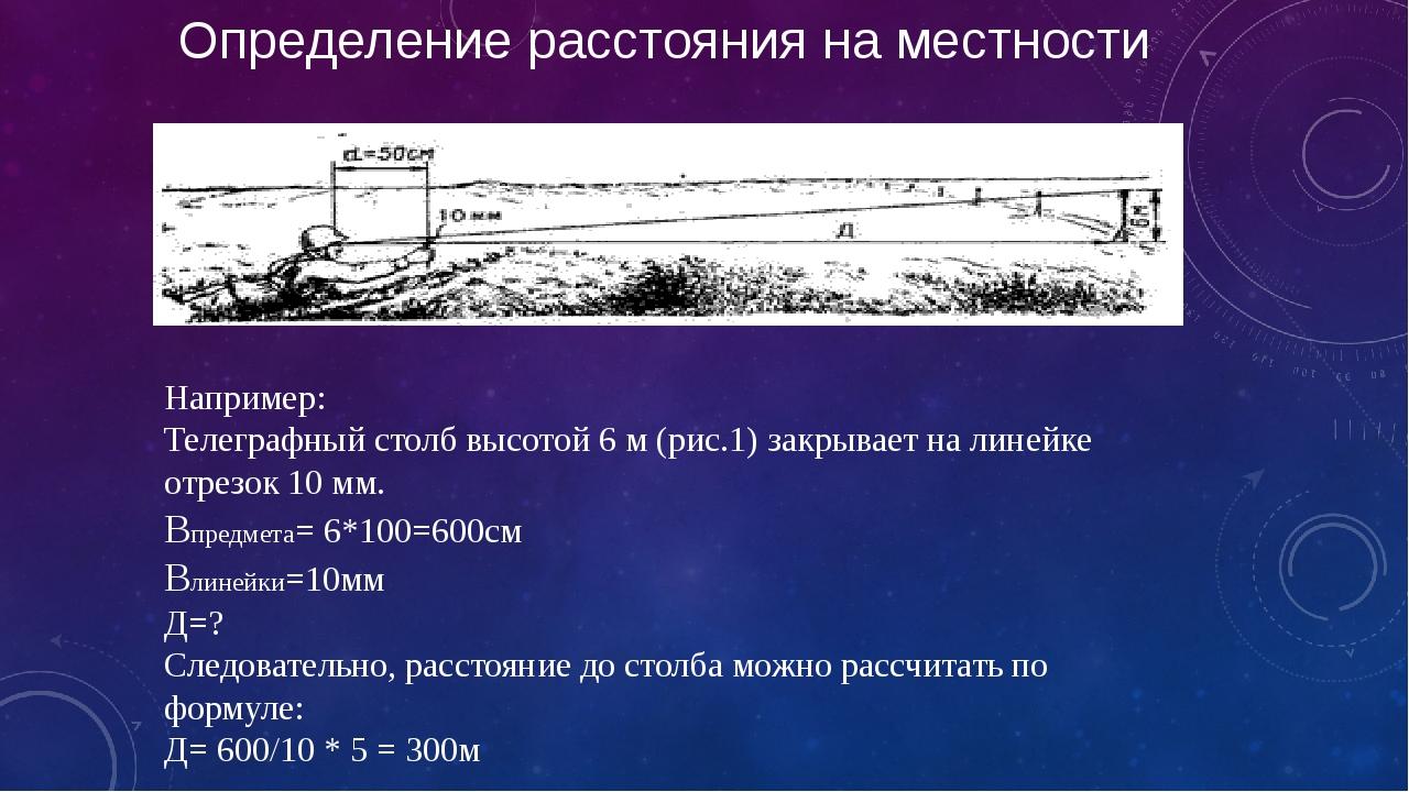 Определение расстояния на местности Например: Телеграфный столб высотой 6 м (...