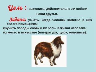 Цель : выяснить, действительно ли собаки наши друзья. Задачи: узнать, когда ч