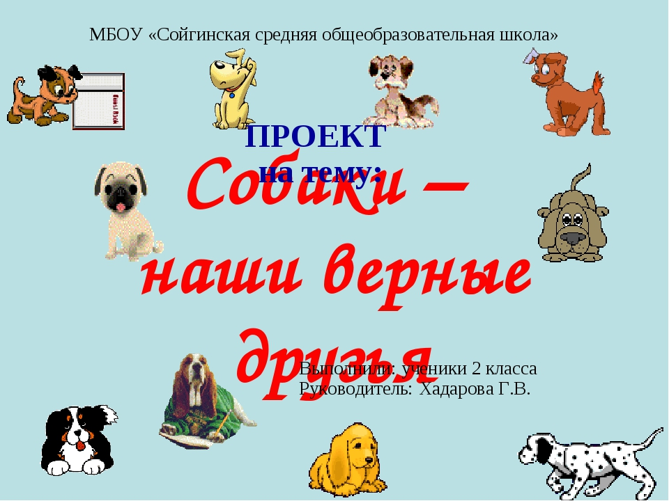 Собаки – наши верные друзья ПРОЕКТ на тему: МБОУ «Сойгинская средняя общеобра...