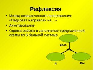 Рефлексия Метод незаконченного предложения: «Педсовет направлен на…» Анкетиро