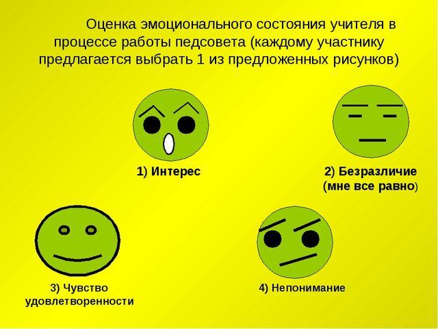 Оценка эмоционального состояния учителя в процессе работы педсовета (каждому...