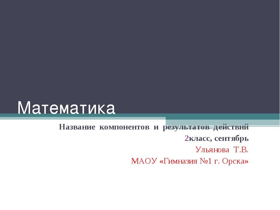Математика Название компонентов и результатов действий класс, сентябрь Ульяно...