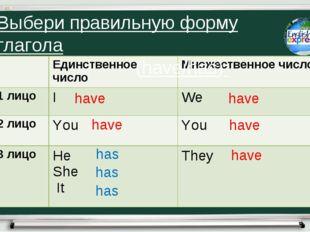 have have has has has have have have Выбери правильную форму глагола (have/ha