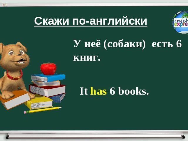 Скажи по-английски У неё (собаки) есть 6 книг. It has 6 books.
