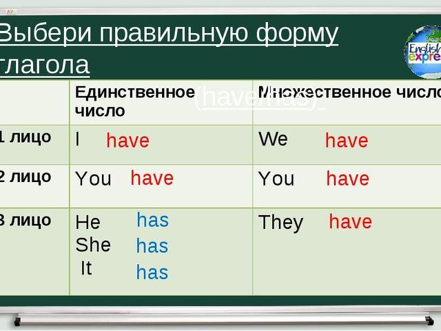 have have has has has have have have Выбери правильную форму глагола (have/ha...