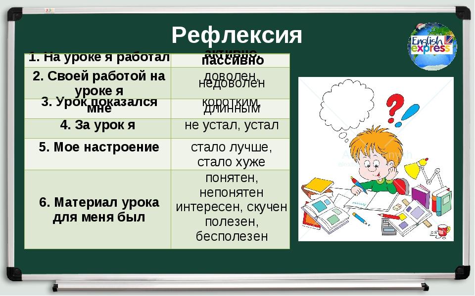 Рефлексия 1. На уроке я работалактивно, пассивно 2. Своей работой на уроке я...